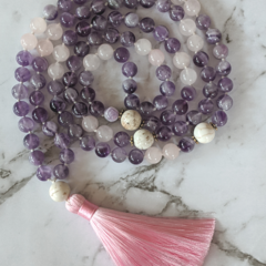 Intuition mala necklace amethyst gemstone beads, 108 mala beads tassel necklace