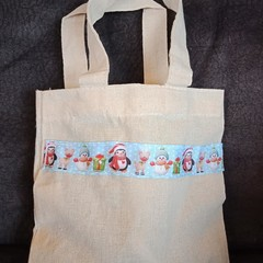 Christmas snowman mini tote bag / gift bag