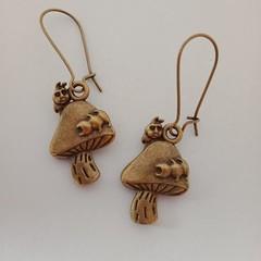 Bronze toadstool earrings