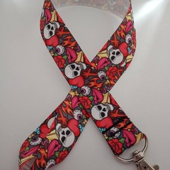 Bright skull print lanyard / ID holder / badge holder