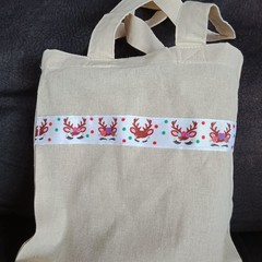 Christmas reindeer small tote bag / gift bag