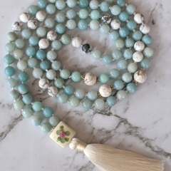 Creativity mala necklace amazonite gemstone beads, 108 mala beads with tassel