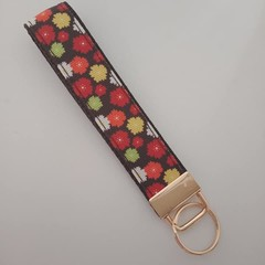 Brown flower key fob wristlet
