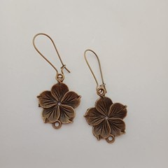 Bronze frangipani / hybiscus / tropical flower earrings