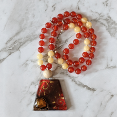 Passion necklace, carnelian gemstone beads, short mala, 54 mala beads