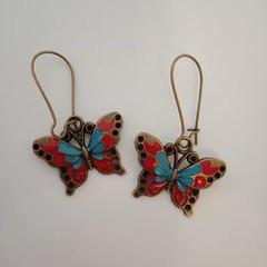Bronze butterfly dangle earrings