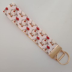 Chicken print key fob wristlet