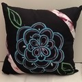 Blue/ Pink flower on Black Cotton