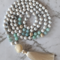 Calming mala necklace for meditation, 108 beads, tassel necklace