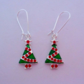Green Christmas tree earrings with green and red baubles