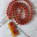 Passion mala necklace, carnelian gemstone beads, 81 mala beads, pendant necklace