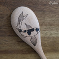 Wood Burnt Koi Wooden Spoon