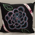 Pink/ Blue Flower on Black Cotton