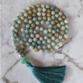 Ocean Inspiration mala necklace, amazonite gemstones, 108 mala beads with tassel