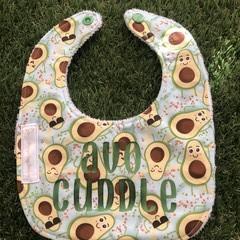 """Avo cuddle"" avocado feeding Baby bib with snaps"