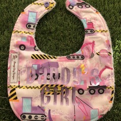 """""""Daddy's Girl"""" trucks and construction  feeding Baby bib with snaps"""