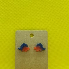 Resin dinosaur stud earrings - stegosaurus