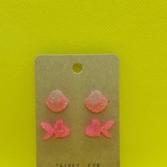 Resin Shell and fish stud earring pack