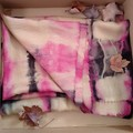 Pashmina Fucshia/ Black Shibori XMas Gift for Her/Teacher
