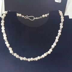 Faux pearl and silver star prom / wedding necklace