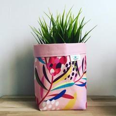 Small fabric planter | Storage basket | PINK PROTEA