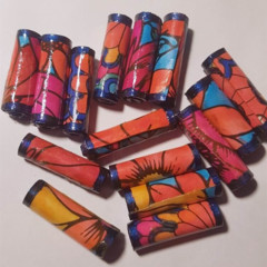 Handmade hand colored designer paper bead in  blues and oranges set of 15