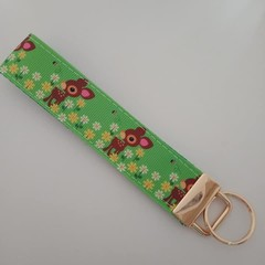 Green deer key fob wristlet