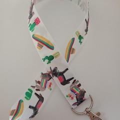 Donkey cactus Mexican print lanyard / ID holder / badge holder
