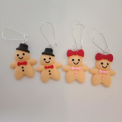Gingerbread man and woman resin charm earrings