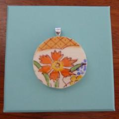 Broken China Orange Floral Pendant