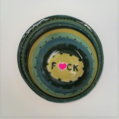 F*ck bowl gift, unique handmade green & yellow stripe gift