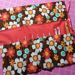 Crochet Hook Handy Wrap-Funky flowers in retro tones