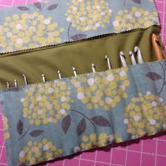 Crochet Hook Handy Wrap-Wattle print on green