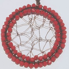 Dream catcher, christmas tree ornament, red crystals and copper wire.