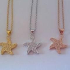 Cubic zirconia starfish charm pendant necklaces
