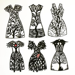 """Paper, Scissors, Frock"" papercut x 1"