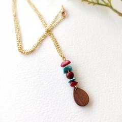 Boho fine Jewelry Wooden Handmade Natural Gemstone Statement Necklace