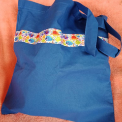 Blue tote bag / shopping bag with colorful fish trim
