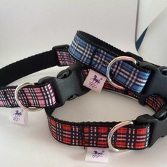Tartan print adjustable dog collars