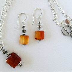 Sterling silver and square orange carnelian handcrafted boho necklace and earrin