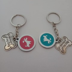 Dog memorial silver key rings