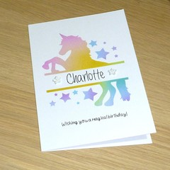 Rainbow Unicorn Birthday card - Personalised & Gorgeous!