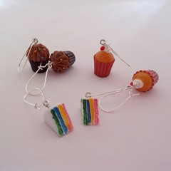 Cup cake charm earrings