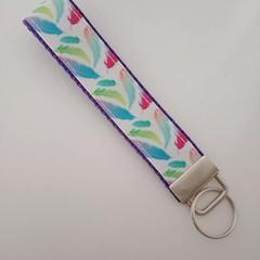 Feather print key fob wristlet