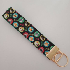 Cute cat print key fob wristlet