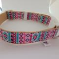 Pink and blue geometric print adjustable dog collars medium / large