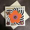 Ivory Pearlised Birthday Card with Large Orange Flower