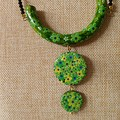 Greens and black necklace.