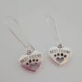 Dog paw shaped silver dangle earrings