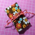 Crochet Hook Handy Wrap-Funky flowers in retro tones